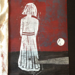 Antigone: linocut print and embroideries on cardboard